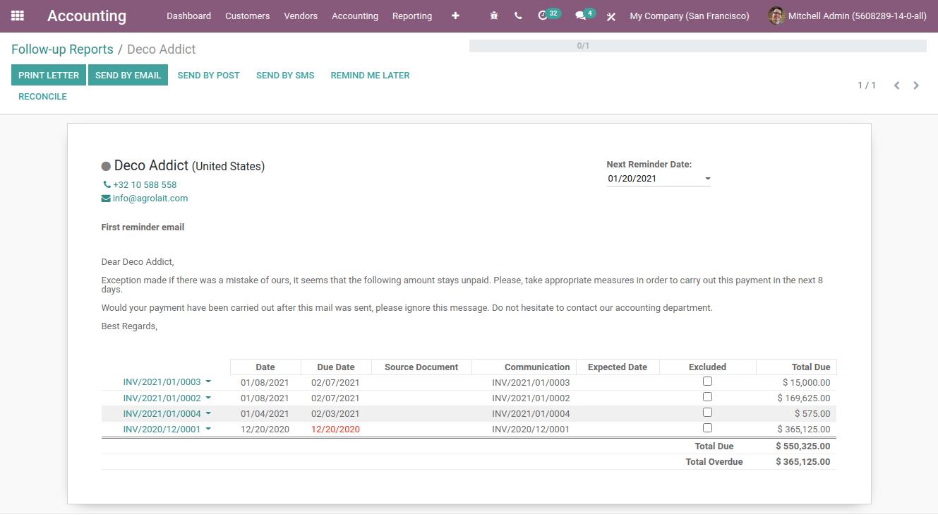 follow up reports in odoo finance module