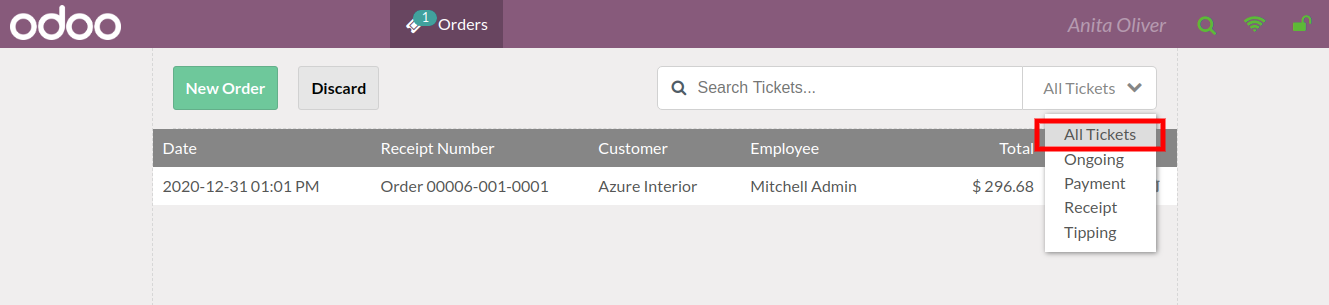 all list of tickets in odoo pos