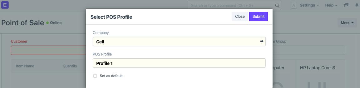 Create POS user in ERPNext