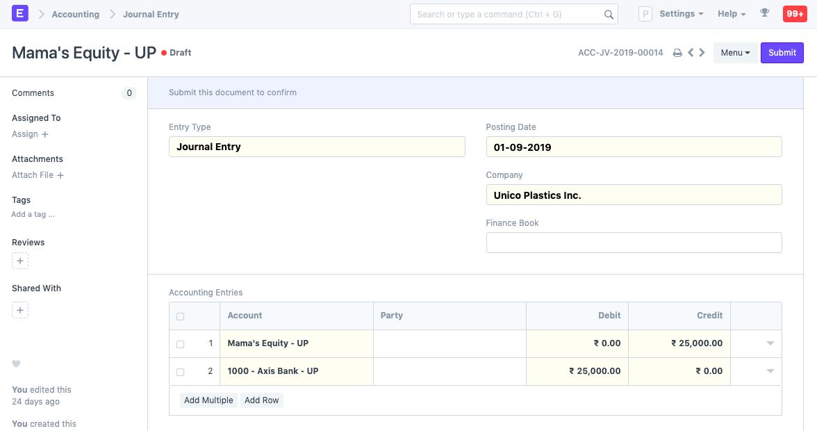 Accounting module in ERPNext