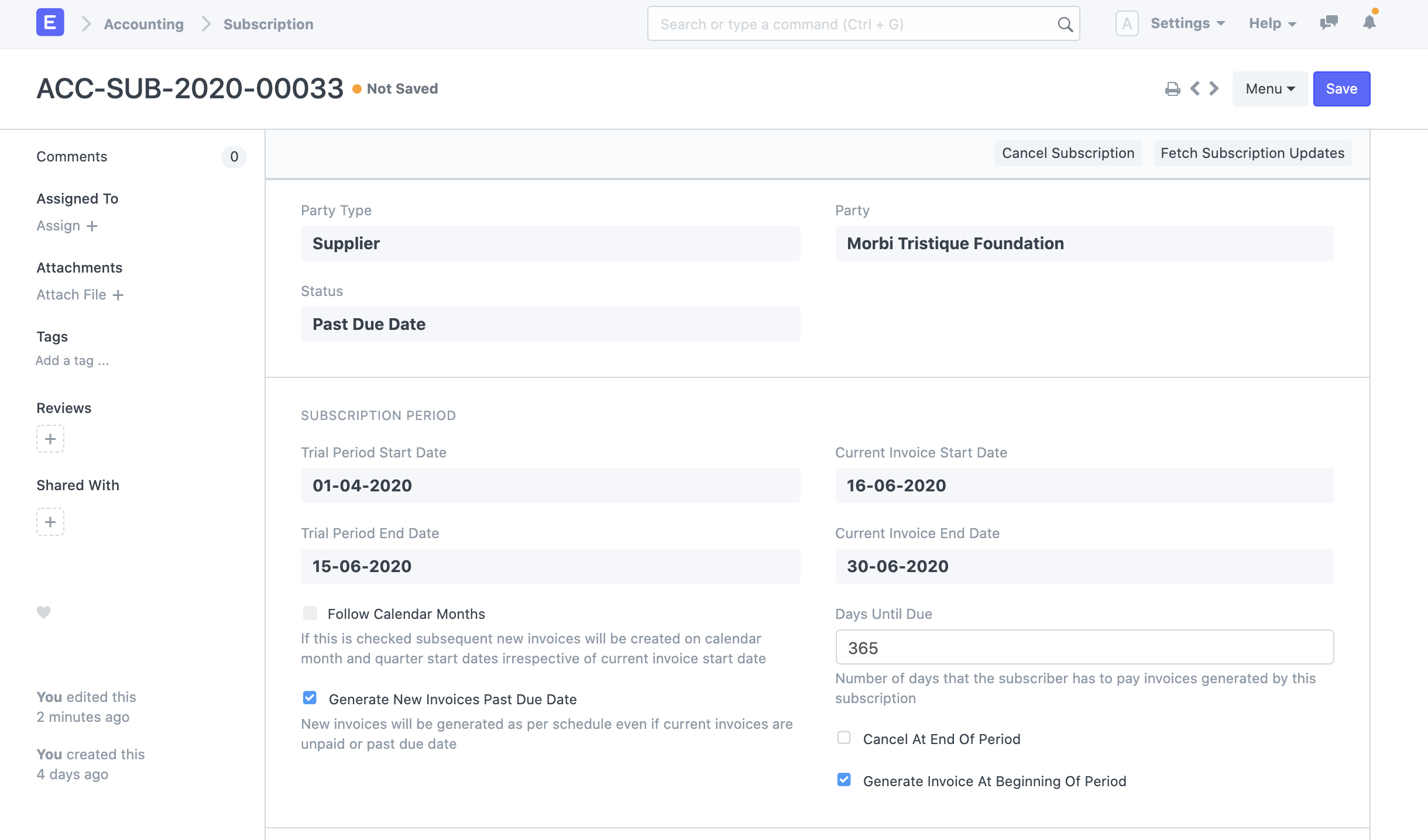 erpnext subscription management module