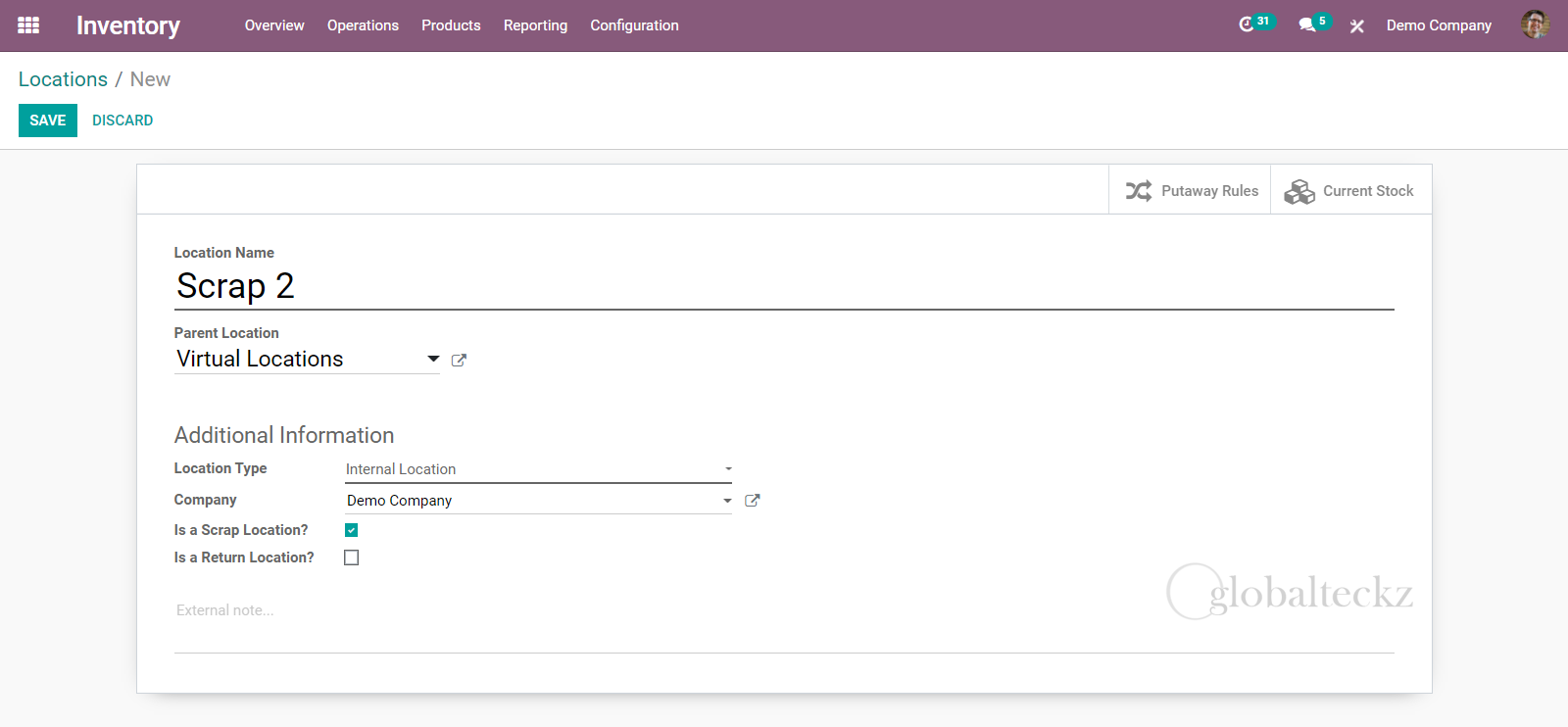 creating a new scrap location in odoo