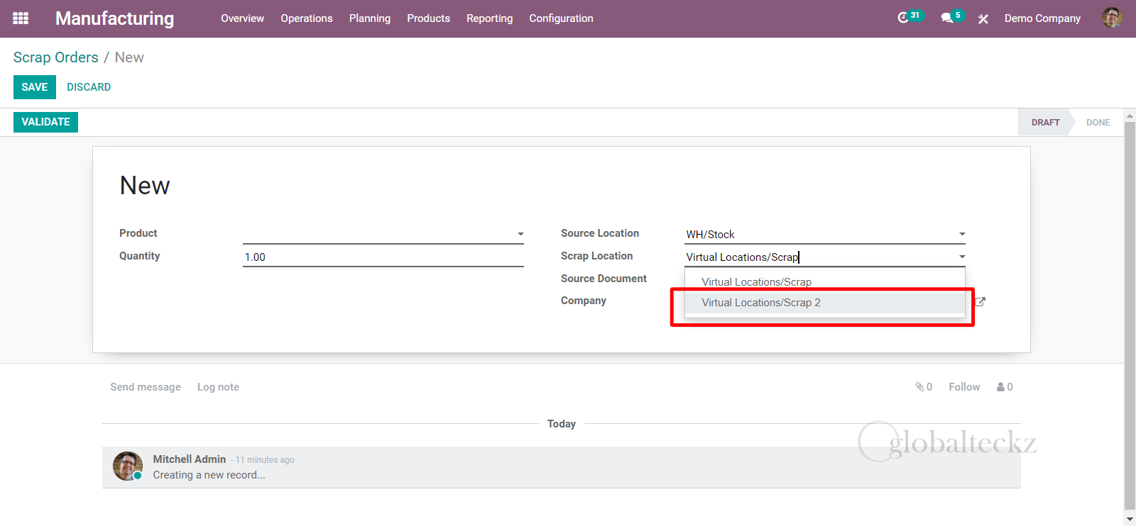 newly created scrap location in odoo