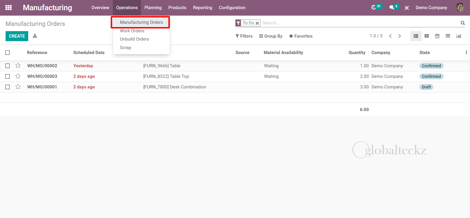 creating a scrapping order from MO in odoo