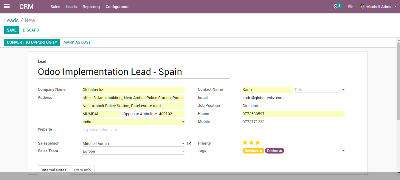 lead management software in Odoo erp