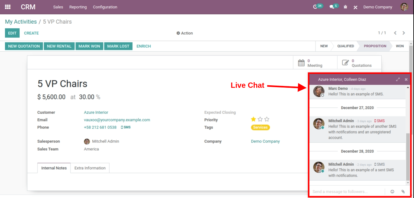 live chat in odoo crm software