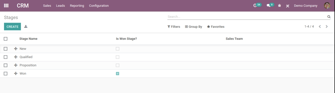 odoo customer stages and lead stages in crm
