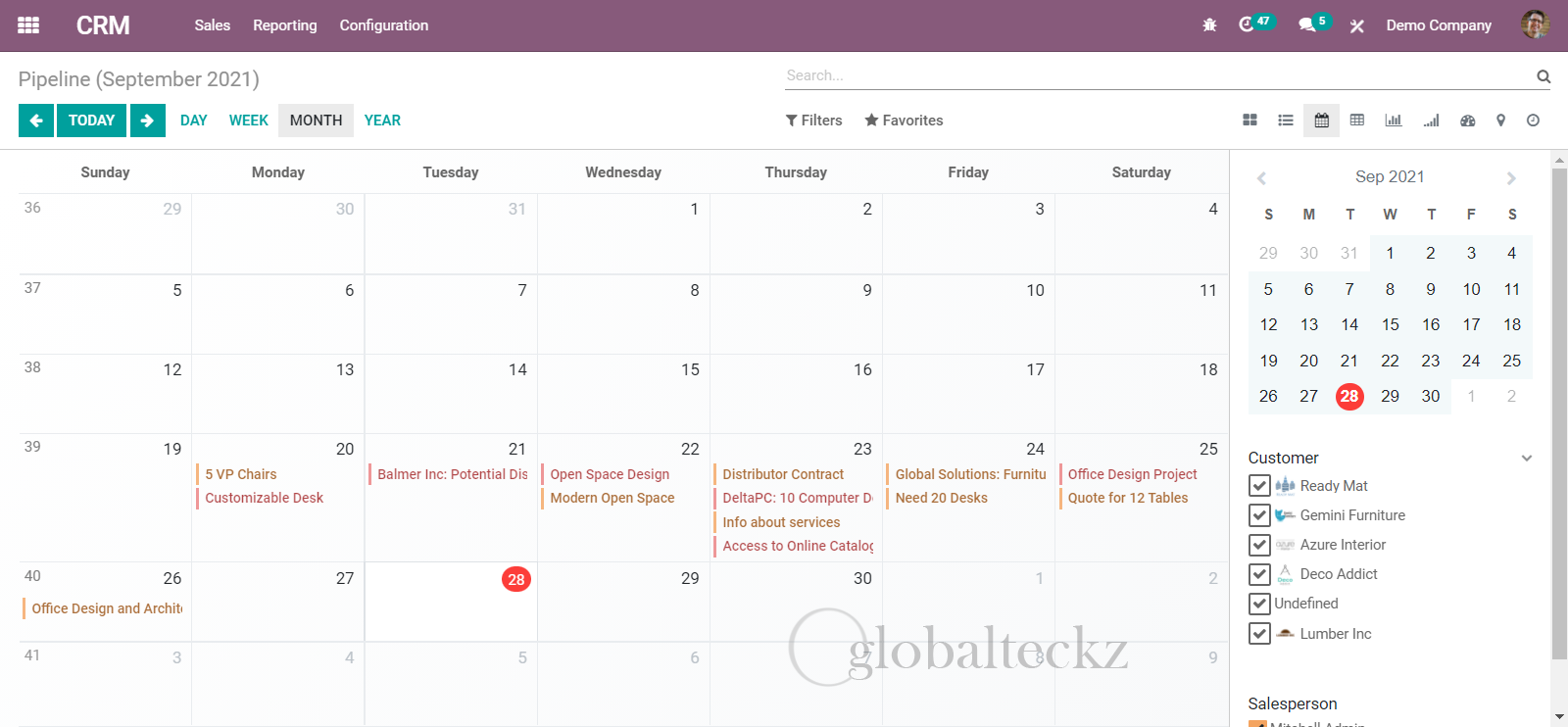 calender in crm software