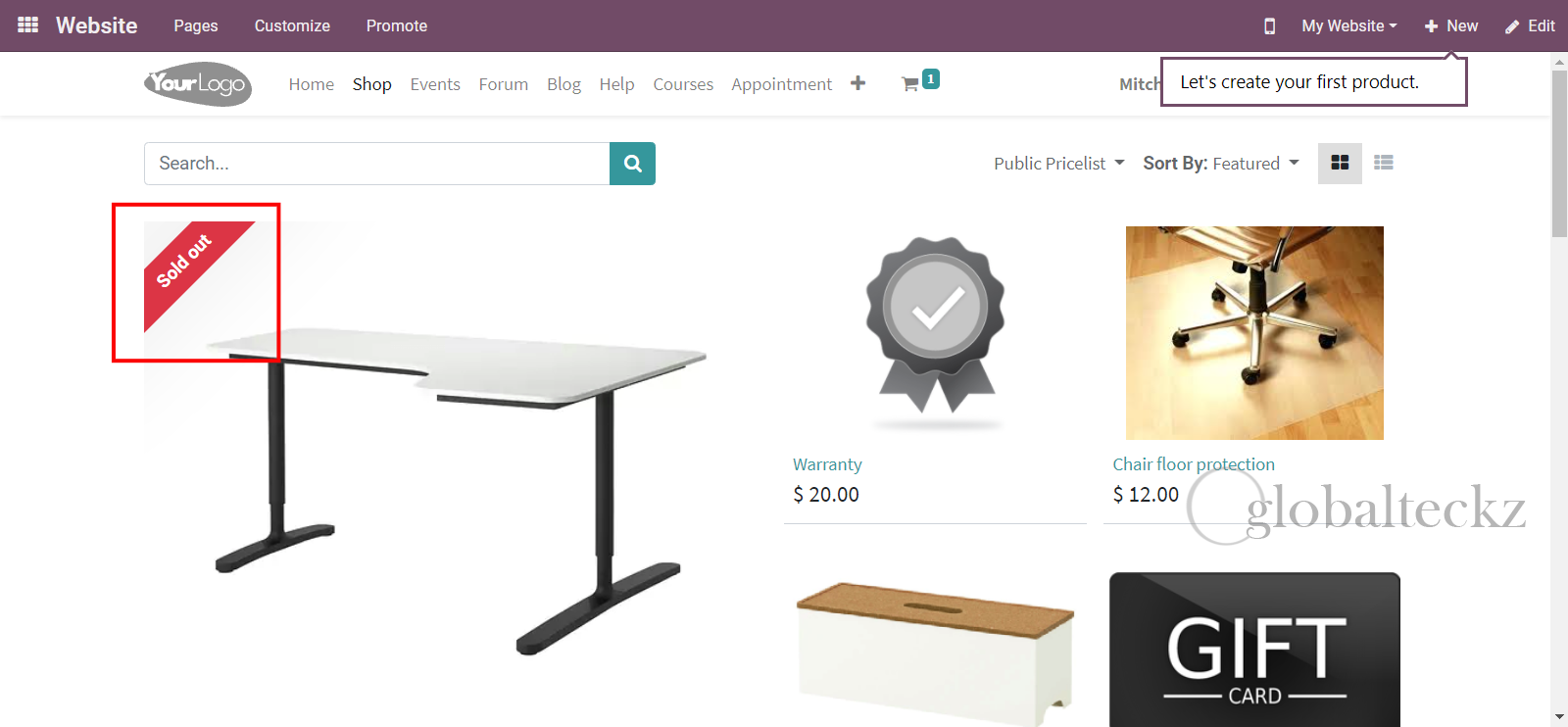 odoo website Ribbon in Products