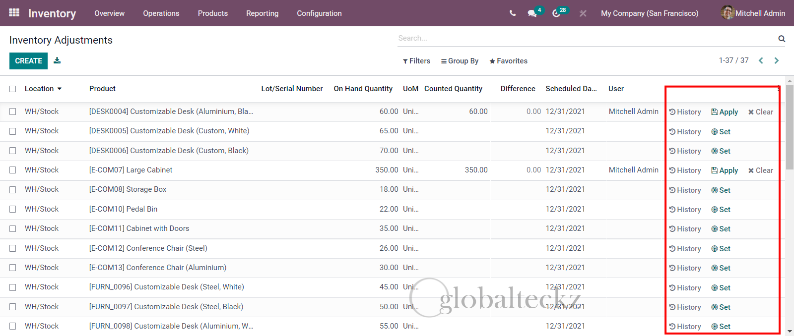 odoo 15New Inventory Adjustment View